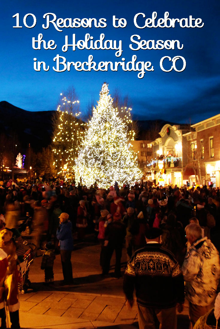 A picture of the Breckenridge Town Christmas Tree with a crowd gathered around.