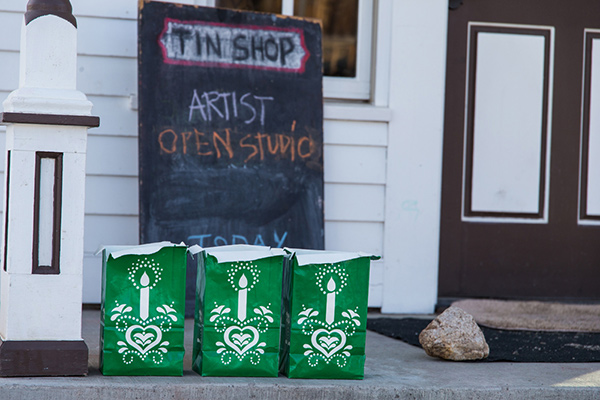 The front of The Tin Shop, one of the buildings in the Arts District of Breckenridge.