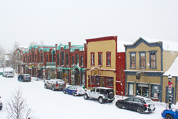 The Victorian storefronts on Main Street, Breckenridge, on a snowy day.