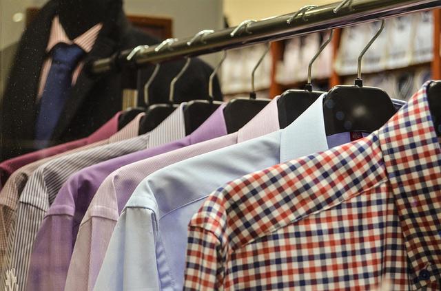 A rack of dress shirts.