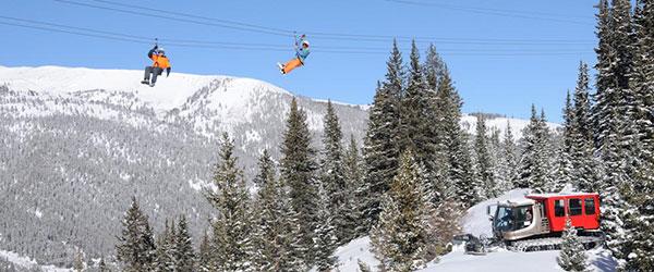 Winter ziplining near Breckenridge