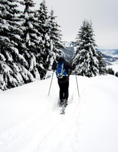 A person snowshoeing on a snowy day.
