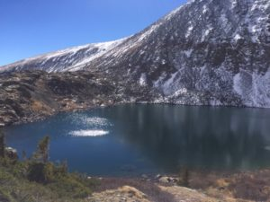A picture of a high mountain lake.