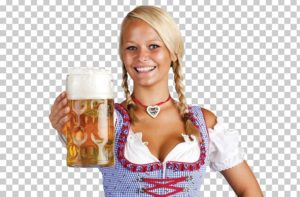 A lady wearing a dirndl and holding a stein of beer.