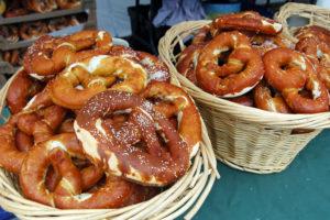 Baskets filled with soft pretzels.