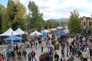 Food and beverage tents lining the streets of Breckenridge.